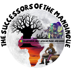 The Successors of the Mandingue logo featuring man playing djembe, balafon group, map of Africa, baobab tree, and griot storytelling