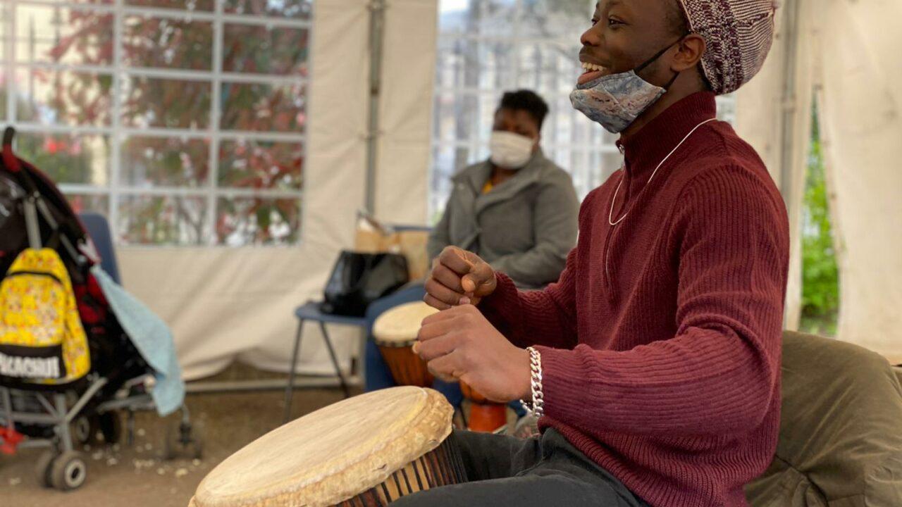 N'famady leading Oasis djembe drumming workshop